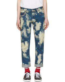 Blue Bleached Denim Punk Jeans
