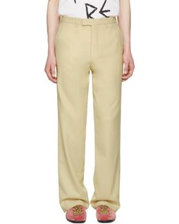 Ivory Wool Flannel Trousers