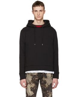 Black Cable Knit Trim Hoodie