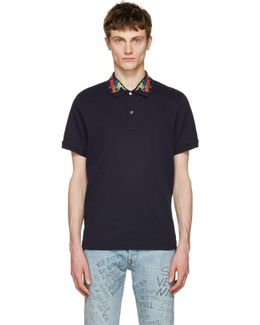 Navy Embroidered Polo