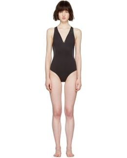 Black Neoprene & Mesh Swimsuit