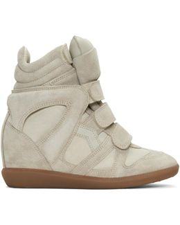 Ecru Suede Beckett Wedge Sneakers