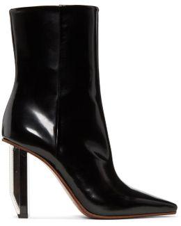 Black & Silver Reflector Heel Boots