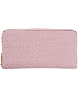 Pink Zip Around Anagram Wallet