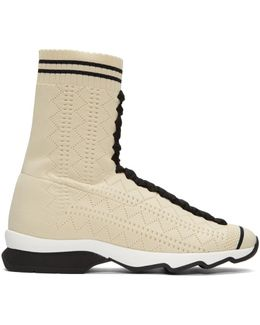 Beige Sock High-top Sneakers