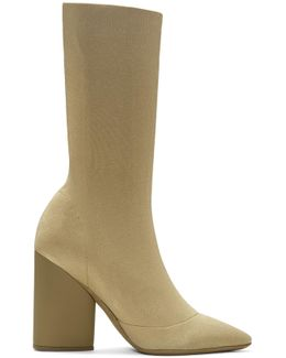 Beige Knit Ankle Boots