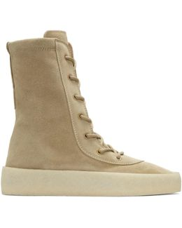 Taupe Crepe Boots