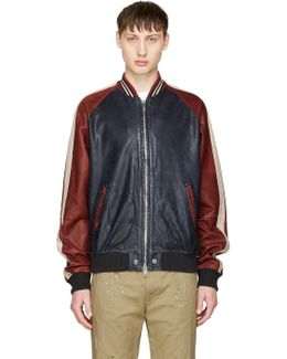 Red & Navy Leather L-truly Bomber Jacket