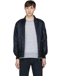 Reversible Navy X Collection Delta Bomber Jacket