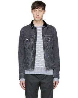 Grey Denim D-ashton-zip Jacket