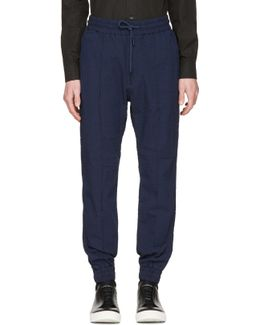 Navy Striped P-point Trousers