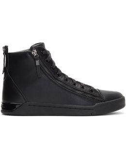 Black S-diamzip In High-top Sneakers