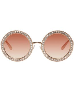 Rose Gold Round Crystal Sunglasses
