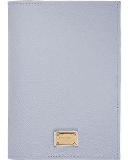 Blue Leather Passport Holder