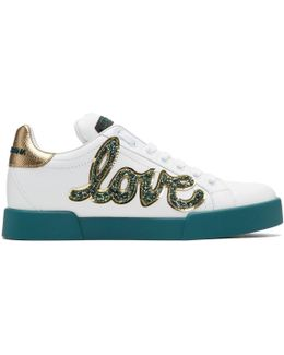 White Glitter Love Patch Sneakers