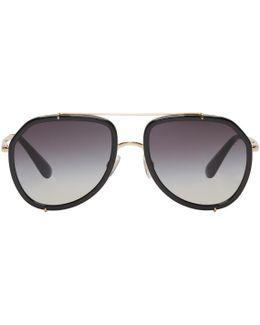 Gold & Black Aviator Sunglasses