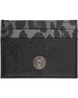 Black Leopard Logo Stud Card Holder