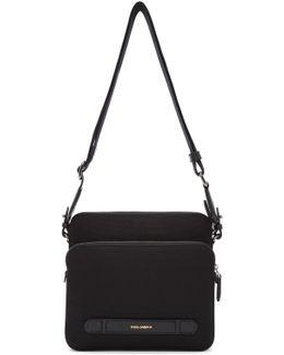 Black Canvas & Leather Messenger Bag