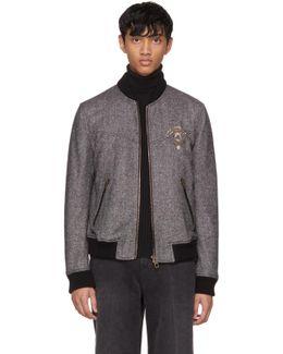 Black & White Herringbone Crest Bomber Jacket