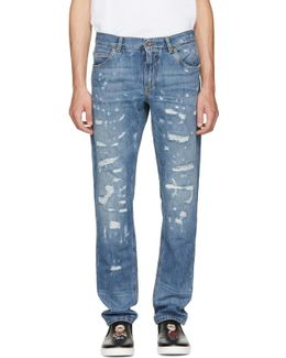 Blue Classic Distressed Jeans