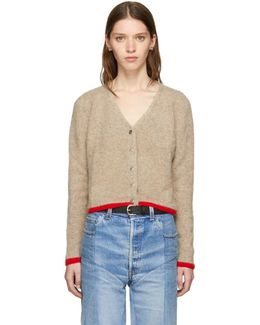 Beige Cashmere Cropped Line Cardigan