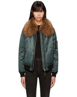 Green Fur Rella-sa Bomber Jacket