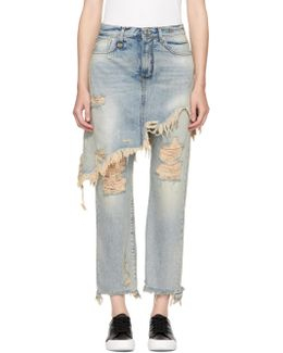 Blue Double Classic Shredded Hem Jeans