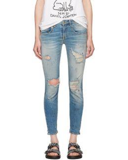 Blue Shredded Straight Boy Jeans