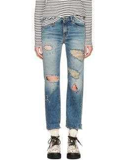 Blue Shredded Bowie Jeans