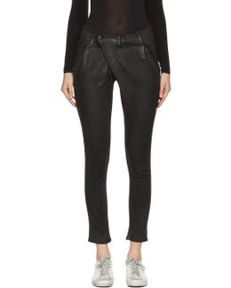 Black Waxed X-over Jeans