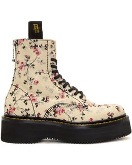 Ecru Floral Stack Boots