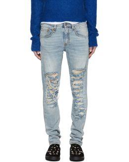 Blue Slashed Boy Jeans