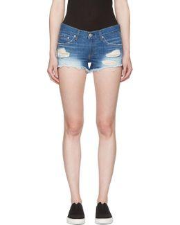 Blue Distressed Cut-off Jean Shorts