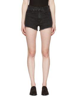 Black Denim Justine Shorts