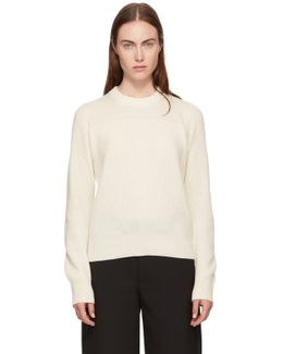Ivory Cashmere Ace Crop Sweater