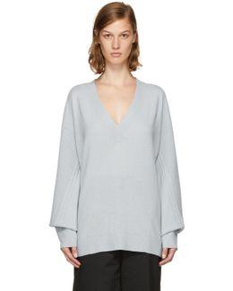Blue Cashmere Ace V-neck Sweater