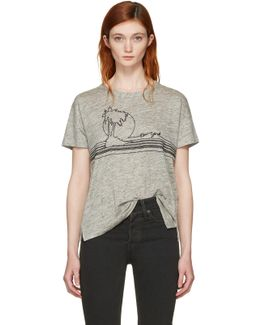 Grey Palm Embroidery T-shirt