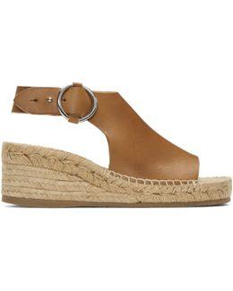 Tan Calla Espadrille Wedge Sandals