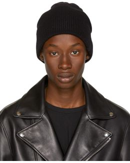 Black Cashmere Ace Beanie