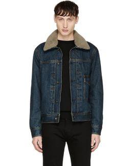 Blue Shearling-lined Denim Bartack Jacket