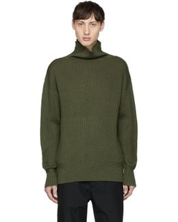 Green Andrew Funnel Neck Sweater