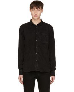 Black Denim Henry Shirt