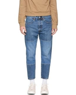Indigo Pieced Drop Crop Jeans