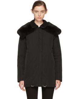 Black Down & Fur Agapanthus Jacket