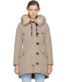 Taupe Down & Fur Arehdel Coat