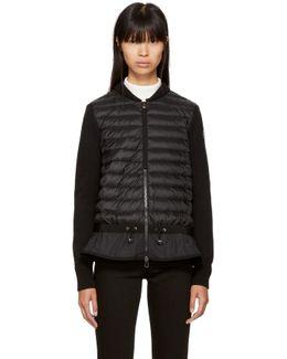 Black Down Knit Peplum Jacket