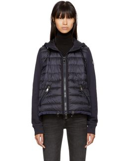 Navy Down French Terry Hooded Jacket