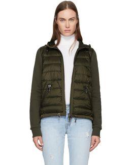 Green Down Jersey Hooded Jacket