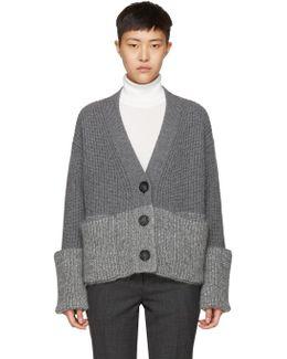 Grey V-neck Cardigan