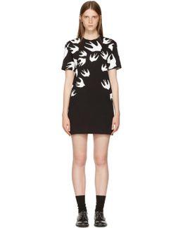 Black & White Swallows T-shirt Dress